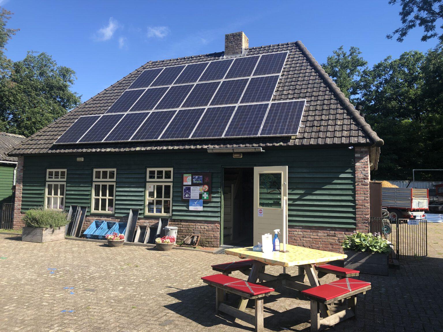 terras kinderboerderij met tafels en bankjes