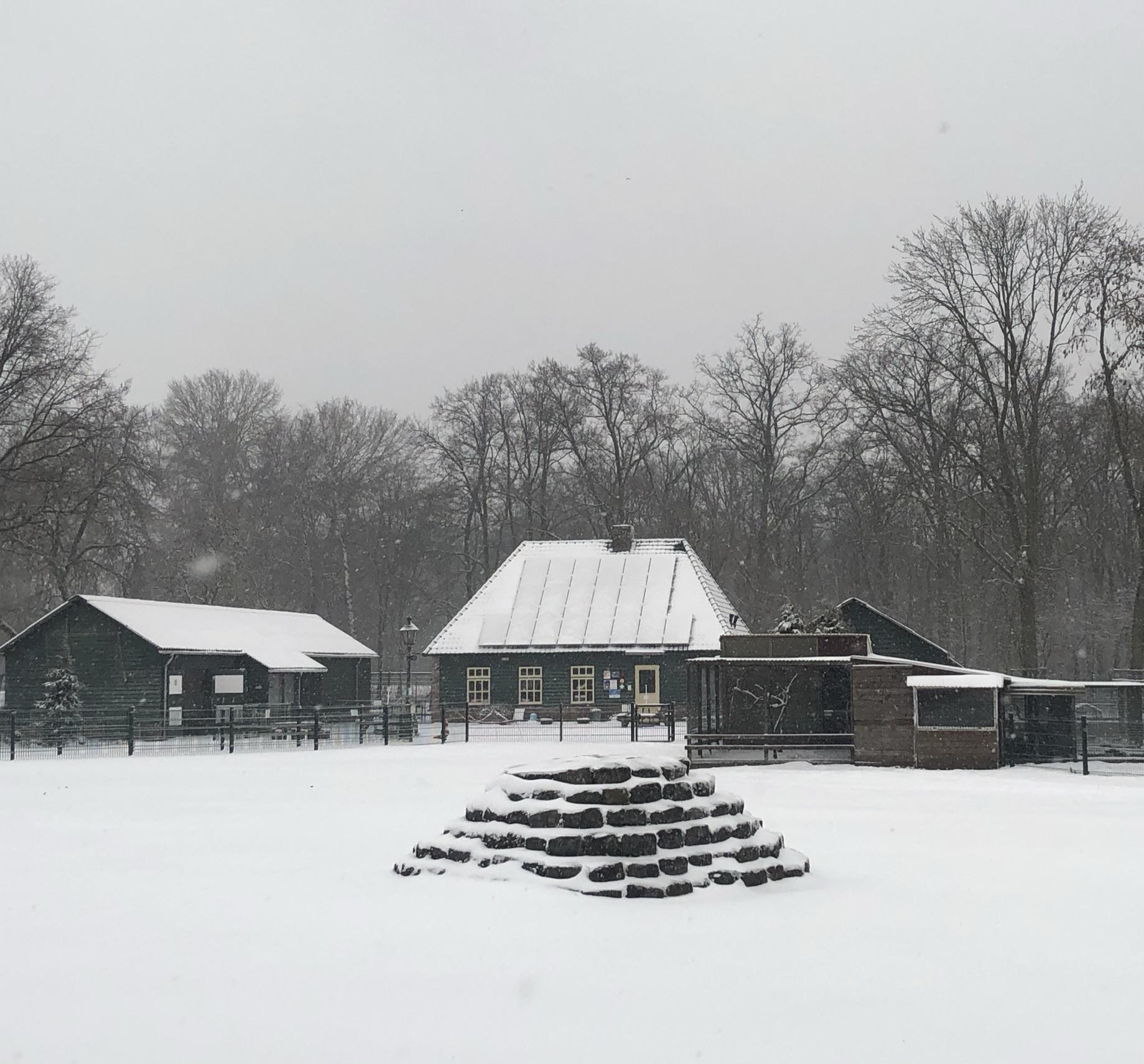 Kinderboerderij in de sneeuw